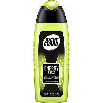 Höger vakt 6 x höger vakt 3 i 1 duschgel för män - Energi burst