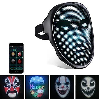 Halloween Led Bluetooth Party Diy Full Color Display Luminous Prank Mask