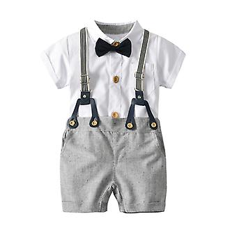 Infant Baby Boys Gentleman Outfit Formal Party Bowtie Shirt Shorts Set