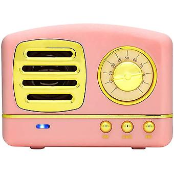 Portable Bluetooth Retro Speaker, Wireless Mini Vintage Speaker With Rich Bass, Stereo, Built-in Mic For Travel, Home,outdoors (pink)