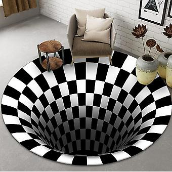 3D Vortex Illusion Teppich, runder Teppich, rutschfeste karierte Fußmatte Bodenpolster