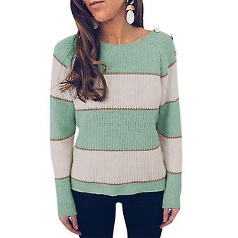 strikket genser kvinner langermet pullover colorblock jumper løs topp