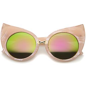أزياء النسائية الجريئة الرخام الإطار العدسة التي لها نسخ متطابقة جولة القط العين نظارات 51 مم