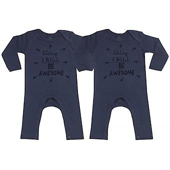 Spoilt Rotten Today I Will Be Awesome Navy Baby Footless Romper Twins Set