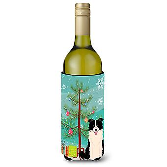Merry Christmas Tree Border Collie Black White Wine Bottle Beverge Insulator Hug