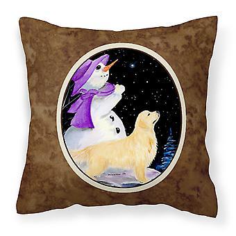 Snowman with Golden Retriever Decorative   Canvas Fabric Pillow