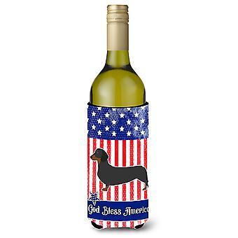 USA Patriotic Dachshund Wine Bottle Beverge Insulator Hugger