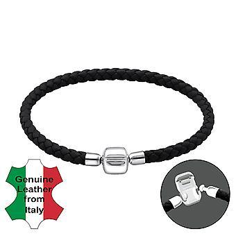 Plain - 925 Sterling Silver + Leather Cord Bead Bracelets - W22502X