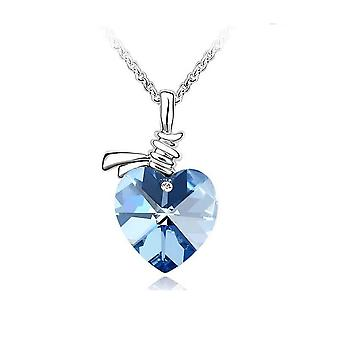 Womens Crystal Love Heart Pendant Necklace in Soft Blue