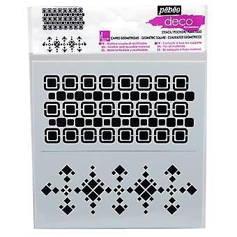 Pebeo Deco Stencil 15 x 15cm - Geometric Squares