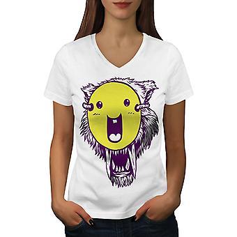 Tiger Smile Funy Naisten WhiteV-Neck T-paita | Wellcoda, mitä sinä olet?
