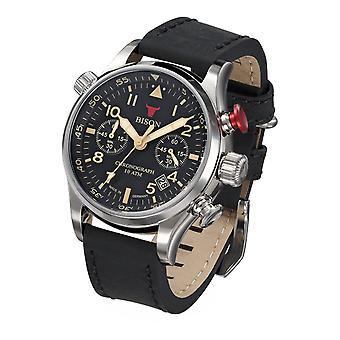 Bison homme montre bison quartz montre-bracelet no. 7 BI0007BK en cuir