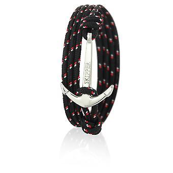 Patrón de anclaje pulsera pulsera de nylon en negro y rojo con ancla de plata 6973