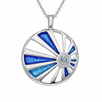 Sterling Silver Traditional Scottish Orbit Hand Crafted Necklace Pendant - Cubic Zirconia