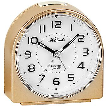 Atlanta 1932/9 alarm clock quartz analog golden quietly without ticking with light Snooze