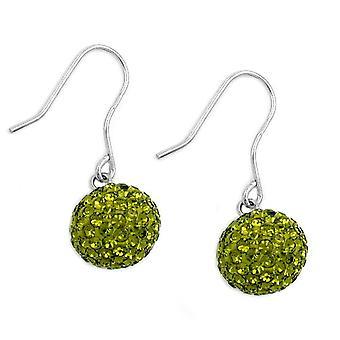 Plata pendientes pendientes de diamantes de imitación collar olivo verde plata de ley 925