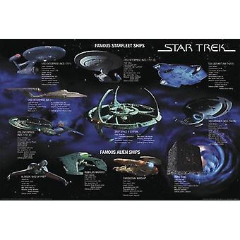 Star Trek poster famous star fleet ships collage