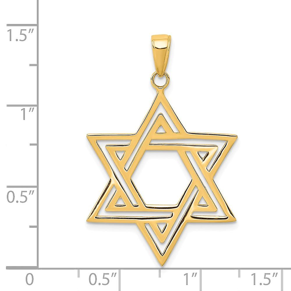 14k Yellow Gold Solid Satin Religious Judaica Star of David Charm Pendant Necklace Measures 28x24mm Jewelry Gifts for Wo