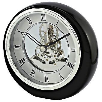 David Peterson Mini Round Skeleton Clock - Silver/Black