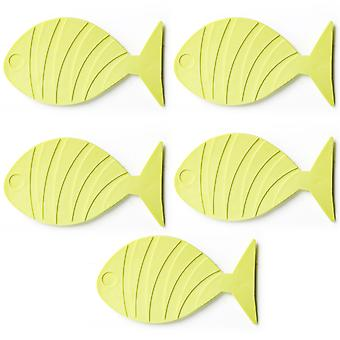 TRIXES 5PC Yellow Fish Shaped Bath Mats for Kids  Non Slip Suction Pads