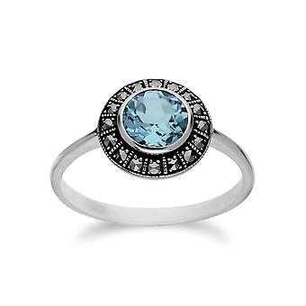 Gemondo Sterling Silver Round Blue Topaz and Marcasite Cluster Ring