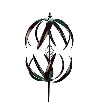 Double Flower Metal Art Kinetic Wind Spinner Garden Stake