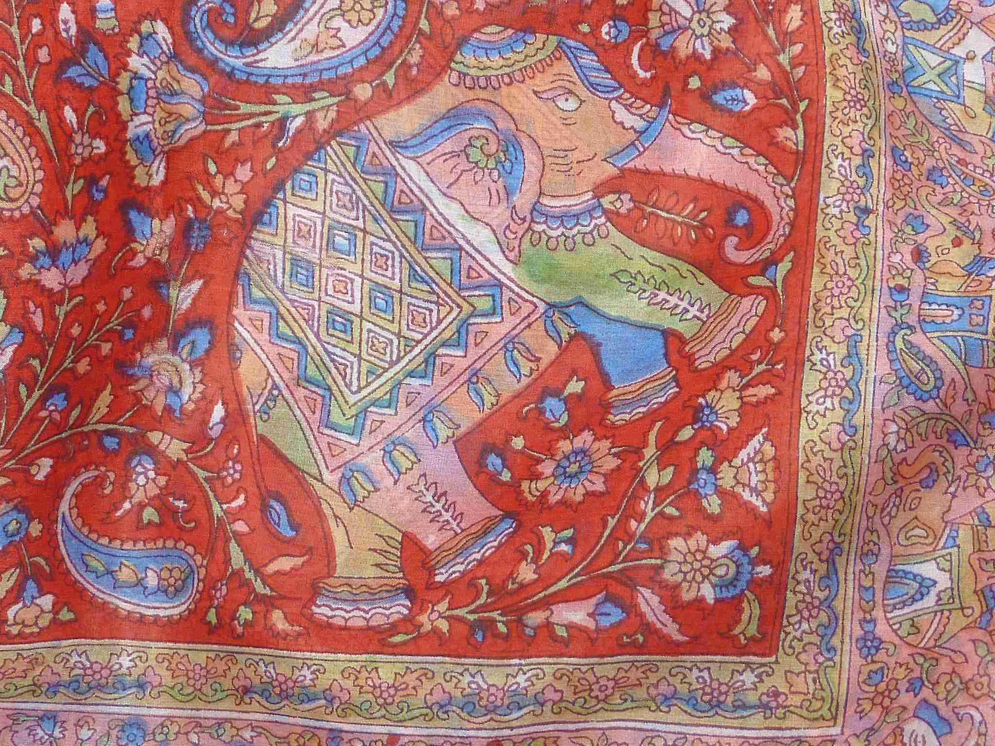 Mulberry Silk Traditional Square Scarf Kalpi Red by Pashmina & Silk