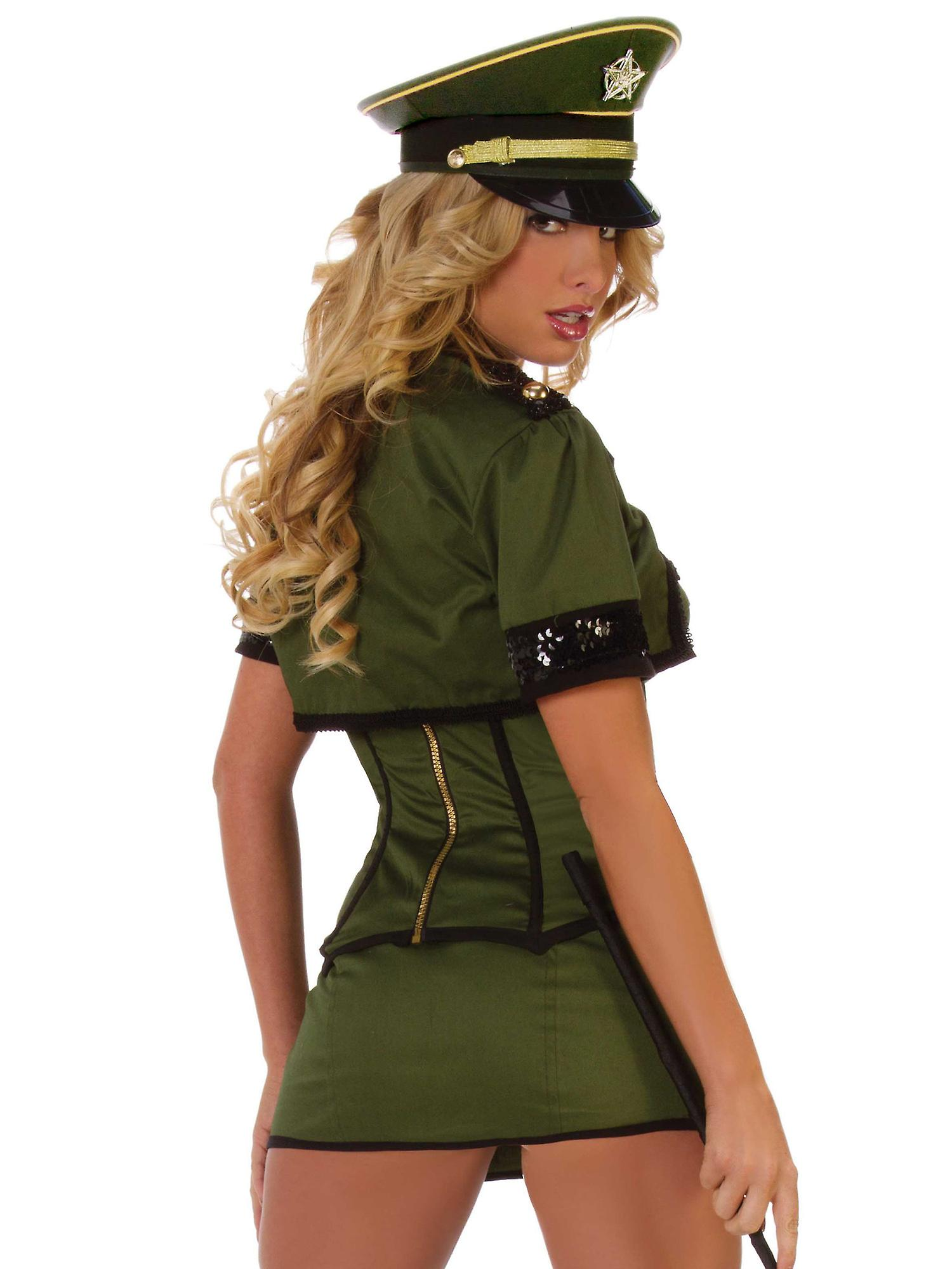 Starline Women's Kinky Army General Costume Outfit in Polyester Black & Green