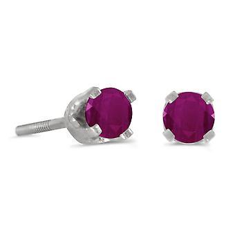 LXR 3mm Petite Round Ruby Screw Cap Plug Earrings in 14k White Gold 0.24ct