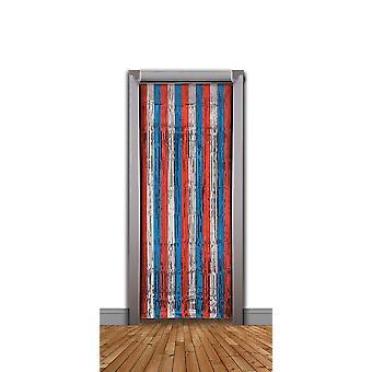 Błyskotka drzwi kurtyna czerwony/srebrny/niebieski (240x94cm)