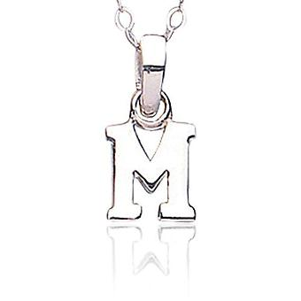 Jo For Girls Sterling Silver Initial 'M' Pendant Necklace 14