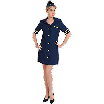 Women's sexy Blue Air stewardess stewardess uniform fancy dress kostuum