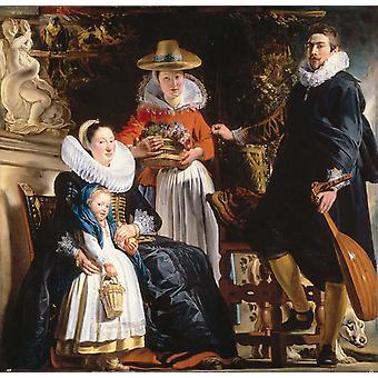 De familie van de kunstenaar, Jacob Jordaens, 50x50cm