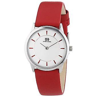 Danish Design 3324547-vrouwen quartz horloge met leder band rode en witte analoge wijzerplaat