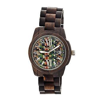 Earth Wood Heartwood Bracelet Skateboard Watch w/Date - Dark Brown