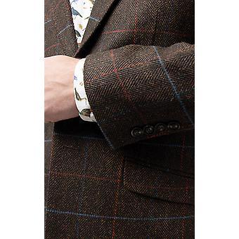 Dobell Herre brun Tweed jakke Fit Regular Notch revers rude Check