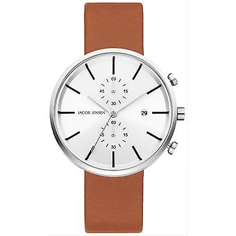 Jacob Jensen Linear Series Watch - Tan/White