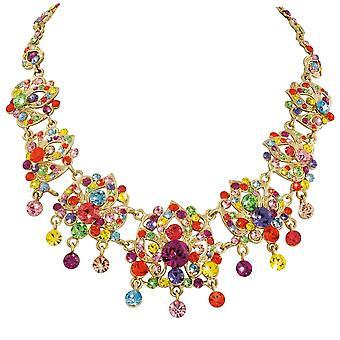 Eternal Collection Abracadabra Rainbow Austrian Crystal Gold Tone Necklace