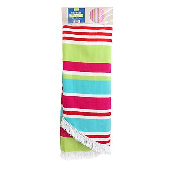 Country Club Round Stripe Beach Towel, Pink and Blue