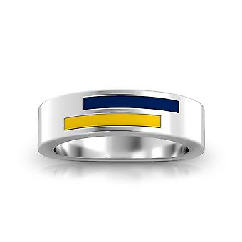 University Of Toledo Sterling Silver Asymmetric Enamel Ring In Blue and Yellow