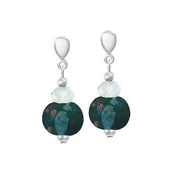 Ewigen Kollektion Harmonie Ocean dunkel Türkis Keramik und Kristalltropfen Clip auf Ohrringe