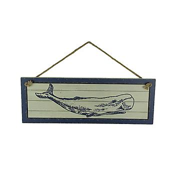 Blue and White Wood Framed Whale Coastal Decor Wall Hanging