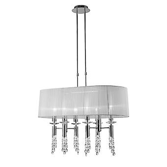 Mantra Tiffany Pendant 6+6 Light E27+G9 Oval, Polished Chrome With White Shade & Clear Crystal