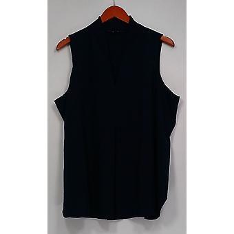 Kelly by Clinton Kelly Top Sleeveless V-Neck Pleated Front Blue A278476