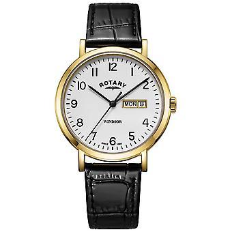 Windsor de Mens giratório preto Watch Strap de couro tom dourado caso GS05303/18