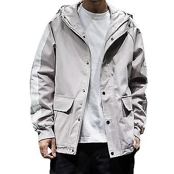 Allthemen Men's Cotton Jacket Stripe Sleeve Big Size Hooded Autumn Outwear Jacket