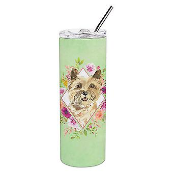 Cairn Terrier Green Flowers Double Walled Stainless Steel 20 oz Skinny Tumbler