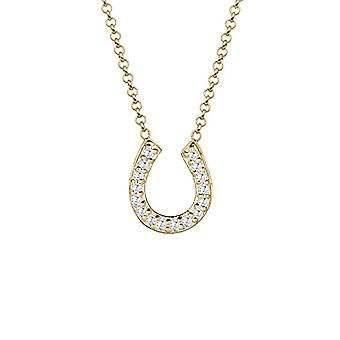 Elli Women's Necklace in Silver 925 with Horse Iron Pendant and Zirconi - Gold Plated
