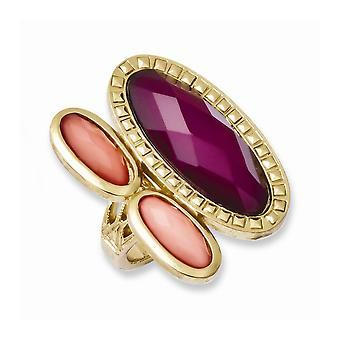 Laundry Gold tone Peach and Raspberry Resin Stones Ring Jewelry Gifts for Women - Ring Size: 7 to 8