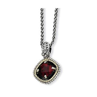 925 Sterling Silver Pools prong set finish Lobster Claw Closure Met 14k 2.38Garnet 18inch ketting sieraden geschenken voor